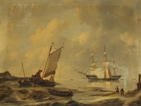 shipping at a shore by johannes christiaan schotel