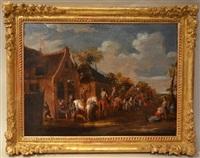 personnages et cavaliers devant une taverne by flemish school (18)