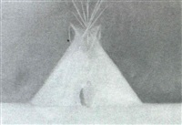 indian woman in front of tepee by john t. axton