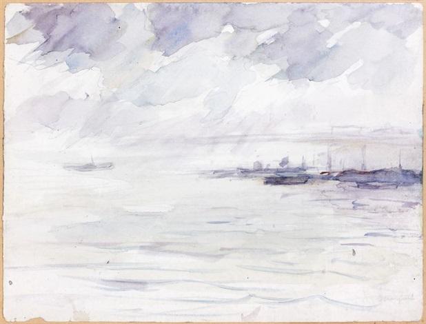 la rade du port dalger temps nuageux by albert marquet