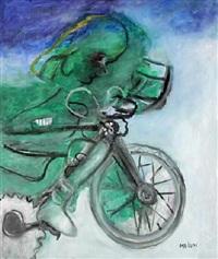 bambina in bicicletta e paesaggio by gino meloni
