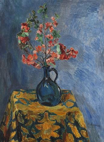 blütenstrauß in blauer vase by hans purrmann