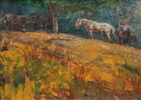 horses grazing by orestes (rick) nicholas de grandmaison