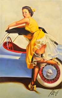 pin-up girl in yellow dress by dennis ropar