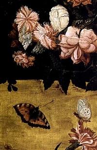 vase de fleurs sur un entablement by kaspar (jasper) van den hoecke