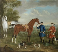 a bay and a grey hunter, said to belong to thomas watson, 3rd earl of rockingham, in a landscape by richard roper