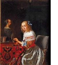 jeune femme enfilant des perles by frans van mieris