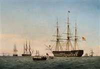 seascape with american ships of the line by fredrich theodor kloss