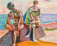 badebilde, to kvinnlige figurer og en pram by aage storstein