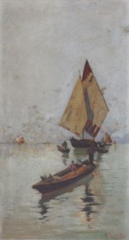 gondolas and boat in the sea by nicolaos xydias typaldos