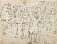 étude d'un groupe de cavaliers (study) (collab. w/studio) by adam frans van der meulen