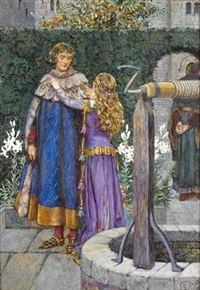 lancelot and elaine - but to be with you still and see your face, to serve you and to follow you thr'o the world by eleanor fortescue-brickdale