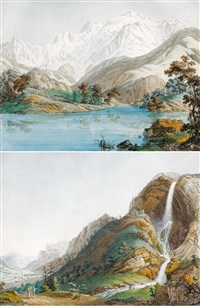 vue du lac de chede et du mont blanc und vue de la cascade d'arpenas (2 works) by jean-antoine linck