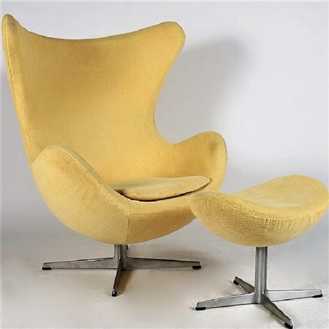 Elegant Arne Jacobsen Egg Chair With Foot Stool By Arne Jacobsen