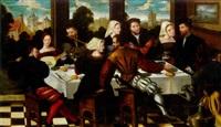 scène de banquet by jan van (brunswich monogrammist) amstel