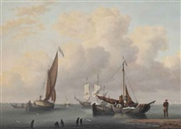 a dutch frigate saluting her departure from the anchorage, with fishermen on their boats in the foreground by william anderson