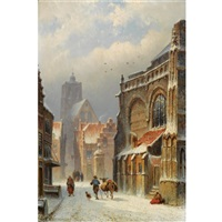 figures in the streets of a wintry town by eduard alexander hilverdink