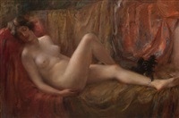 nude with a dog by vitaly gavrilovich tikhov