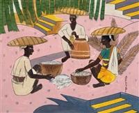 untitled (fisherwomen) by abdulrahim apabhai almelkar