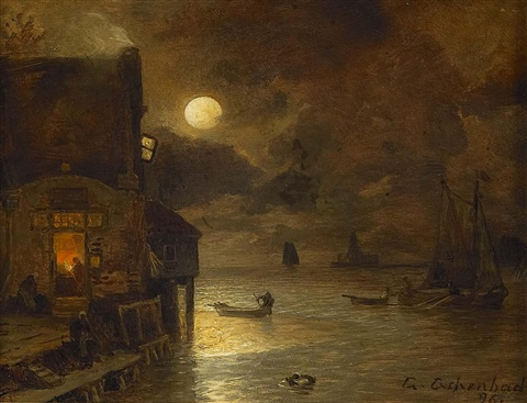 vollmondnacht am kai by andreas achenbach