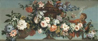 hyacinthes, roses, chrysanthemums and narcissi in a terracotta vase on a stone ledge, with a monkey by antoine monnoyer