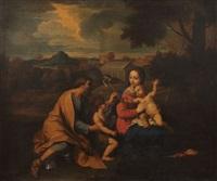 la sainte famille avec saint jean-baptiste dans un paysage de la campagne romaine by nicolas mignard