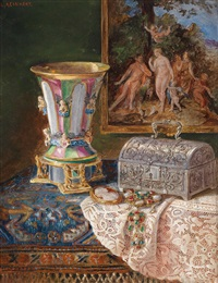 still life with jewelery box and glass goblet by lea reinhart