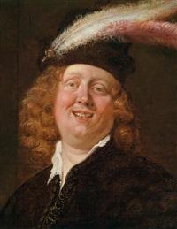 ein lachender junger mann mit federgeschmücktem barett by jacob jordaens