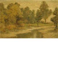 autumn landscape with a stream by albert babb insley