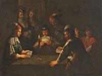 kartenspieler bei kerzenlicht by wolfgang heimbach