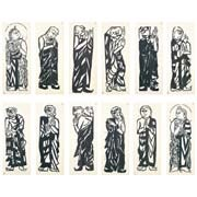 two buddhist saints and ten great disciples of the buddha (set of 12) by shiko munakata