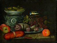 nature morte aux saucissons, cornichons et fruits by italian school-northern (19)