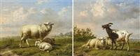 mouton avec agneaux - moutons et chèvre (2 works) by louis pierre verwee