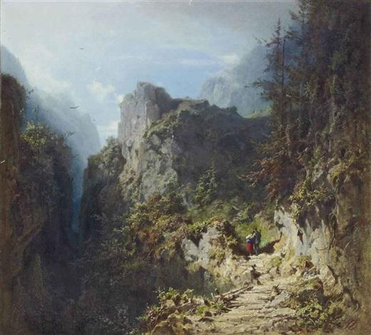 berglandschaft mit liebespaar jäger und mädchen by carl spitzweg