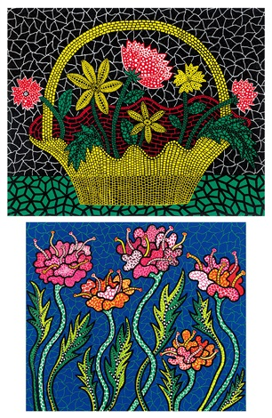 a花籃 b夏之花 aflower basket bsummer flower2 works various sizes by yayoi kusama