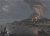 eruzione del vesuvio vista da torre del greco by pietro antoniani
