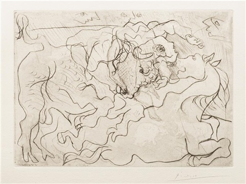 morte au soleil, iv (death in the sun) or corrida. femme torero blessée. iii (wounded female bullfighter), plate 13 from la suite vollard by pablo picasso