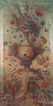 fleurs ornant un grand vase de pierre sur un socle by le riche (leriche)