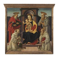 the madonna and child enthroned with saints john the evangelist and jerome, and two benedictine saints by bartolomeo di giovanni