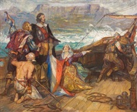 the arrival of jan van riebeeck at the cape, 1652 by john henry amshewitz