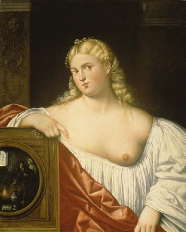a courtesan with a mirror by bernardino licinio