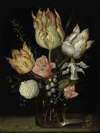 tulips, roses, a bluebell, narcissus tortuosis, forget-me-nots, lily of the valley and cyclamen in a flask on a ledge by ambrosius bosschaert the elder