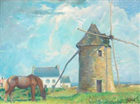 the windmill and horse, finisterre by abel george warshawsky