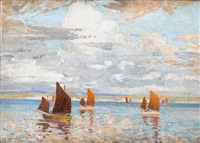 fishing boats off st. ives by charles david jones bryant
