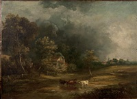 cows watering before an extensive landscape under threatening skies by obadiah short