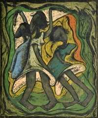linocut/woodblock by ángel botello (1913-1986). ángel botello (june 20 - november 11, 1986) was a spanish-puerto rican painter, sculptor and graphic artist. the artist critics called him the caribbean gauguin for his use of bold colors and depictions of is by angel botello