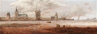 fishermen by the water with a view of a city by anthony jansz van der croos