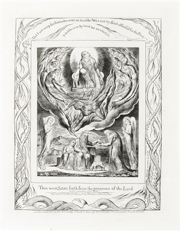 then went satan forth from the presence of the lord (from illustrations of the book of job) by william blake