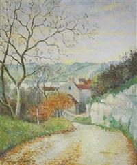 chemin à l'orée du village by georges manzana-pissarro
