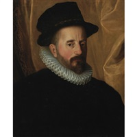 portrait of a gentleman in a tall hat and millstone ruff by giovanni battista